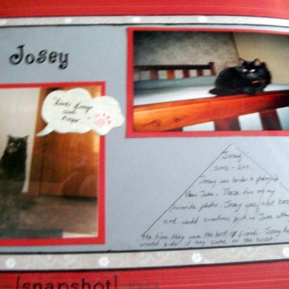Scrapbook page about our cat Josey.