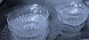 Glass dishes at the Op Shop