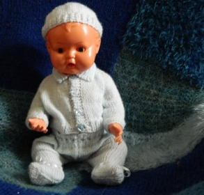 Kader baby Christopher in pale blue outfit I made him.
